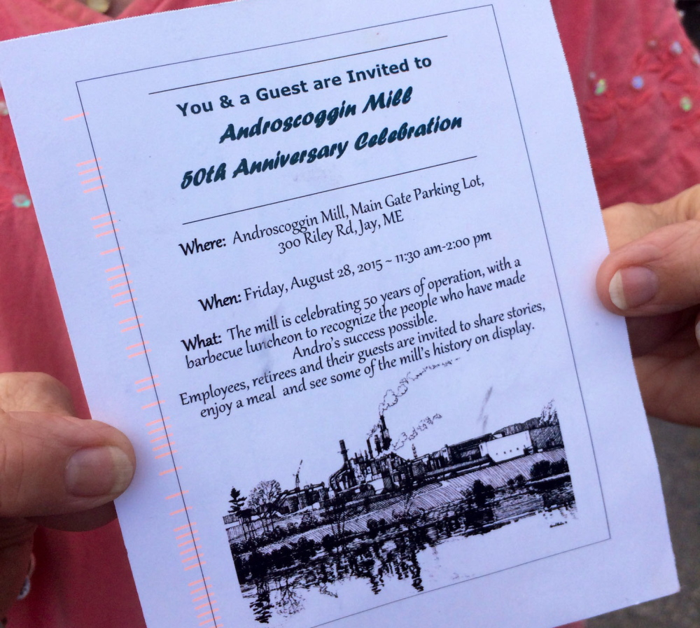 A flier arrived in the mail Thursday for Androscoggin Mill employees and retirees inviting them to a celebration of its 50th Anniversary next week. Thursday morning, Verso, the mill owner, announced 300 workers will be laid off before the end of the year.