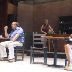 """From left are Walter Guild, John Blanchette, Marcia Gallagher and Peg Acheson during a rehearsal of """"Picasso at the Lupin Agile."""""""