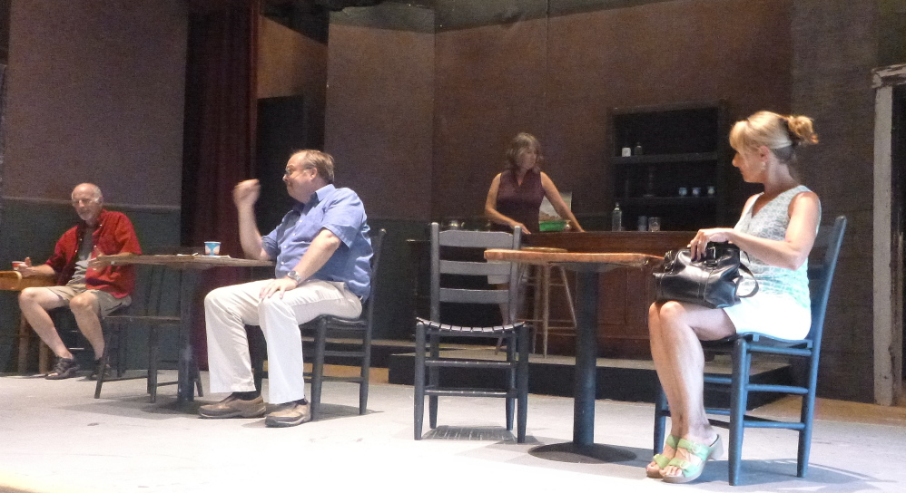 "From left are Walter Guild, John Blanchette, Marcia Gallagher and Peg Acheson during a rehearsal of ""Picasso at the Lupin Agile."""