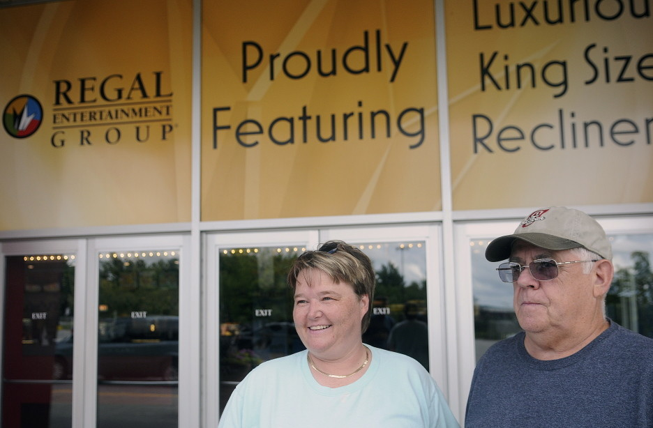 "Pat and Ted Weymouth of Monmouth outside the Regal Cinemas in Augusta on Thursday, where they saw the new ""Mission: Impossible — Rogue Nation"" movie."