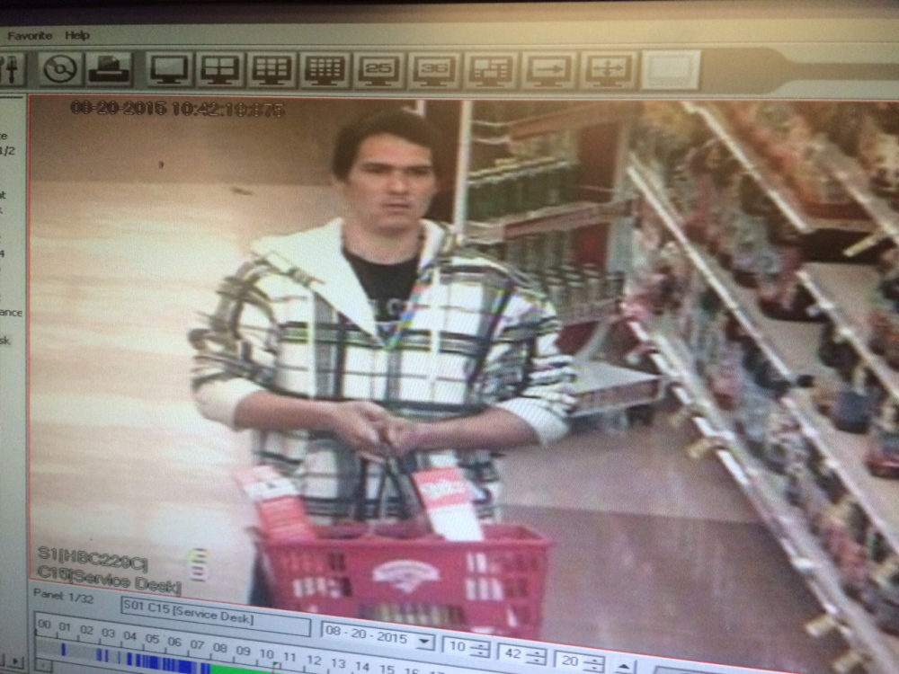 Waterville police released this surveillance photo of a man they believe stole two bottles of liquor from the Elm Plaza Hannaford Thursday morning.