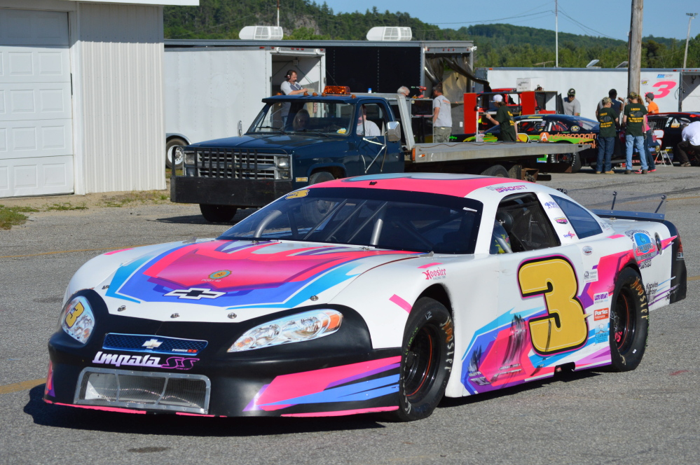 Contributed photo   Vanna Brackett's Super Late Model sits at Oxford Plains Speedway. Brackett hopes to qualify for the annual Oxford 250.