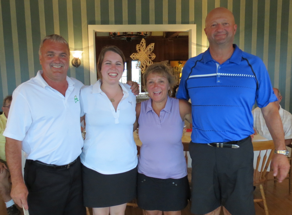 Mixed Division — First place winners, from left, are Dan DiPompo, Brittany DiPompo, Ann Nemi and Greg Nemi.
