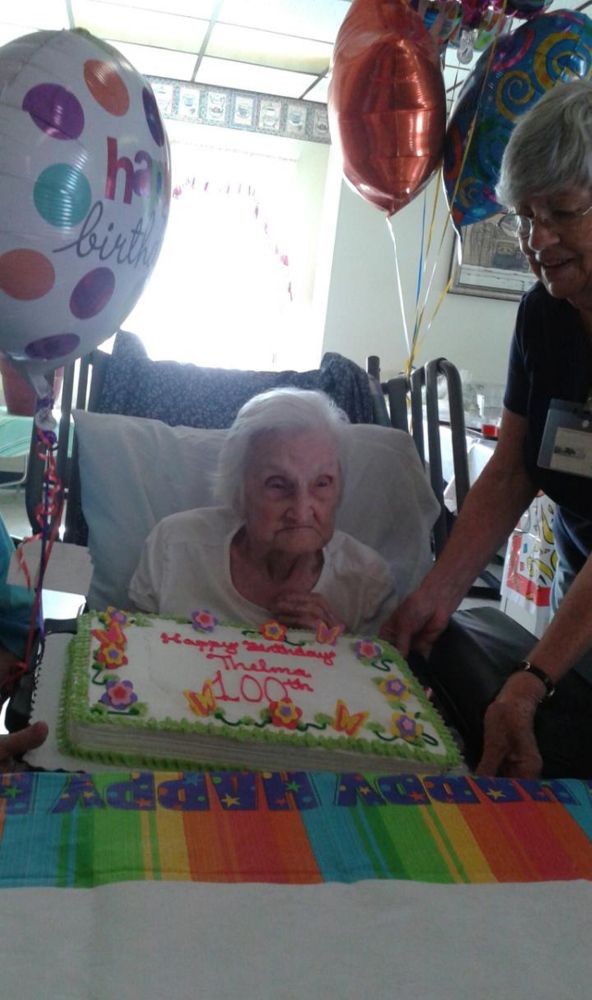 Thelma Boynton celebrated her 100th birthday Aug. 3 at Winthrop Manor Long-Term Care & Rehabilitation. She was surrounded by friends and family.
