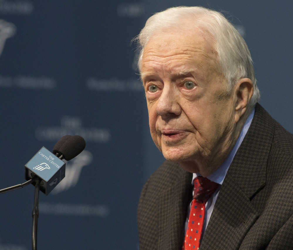 Former President Jimmy Carter talks about his cancer diagnosis during a news conference at The Carter Center in Atlanta on Thursday.