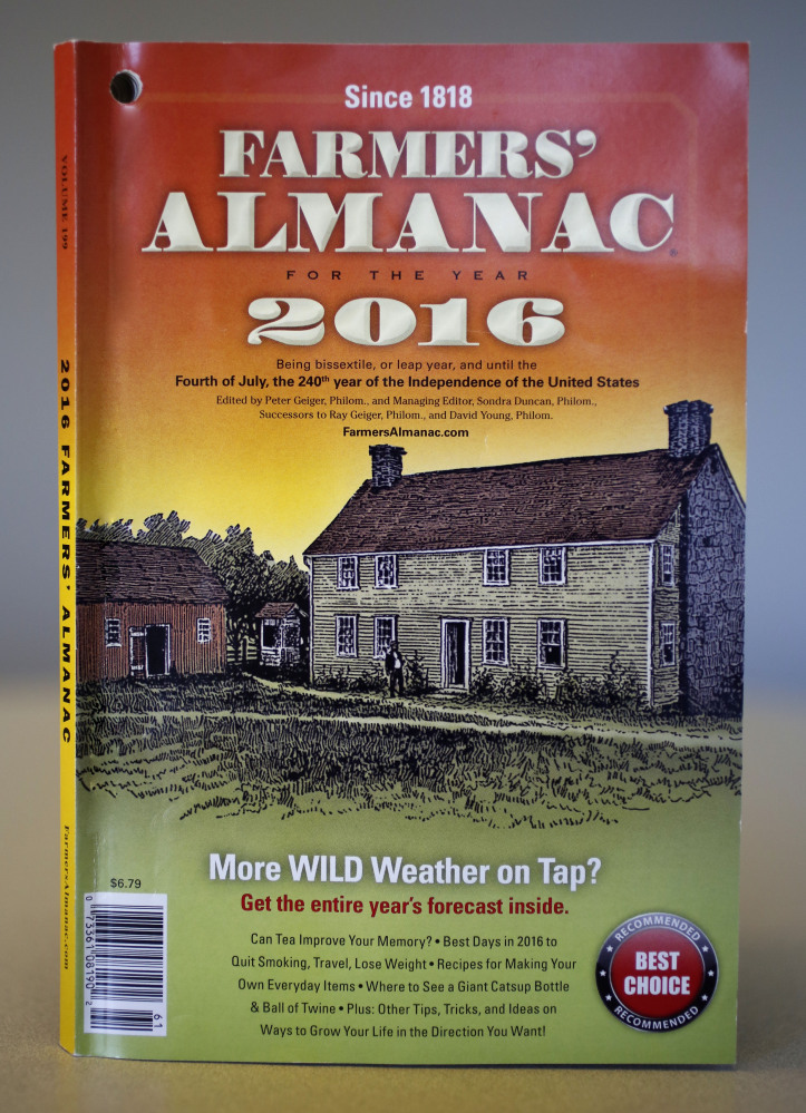 "This is a copy of the 2016 Farmer's Almanac. The editors of the Maine-based publication have dubbed their latest forecast a ""winter deja vu,"" hearkening to last winter's misery across the Northeast."