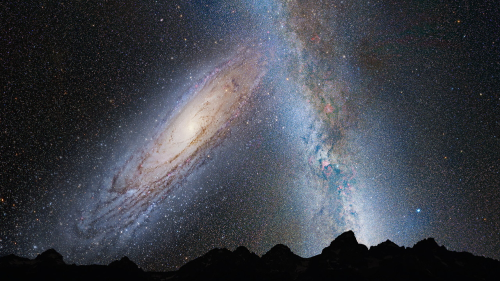 About 3.75 billion years from now, the Andromeda galaxy fills the field of view as seen from Earth.