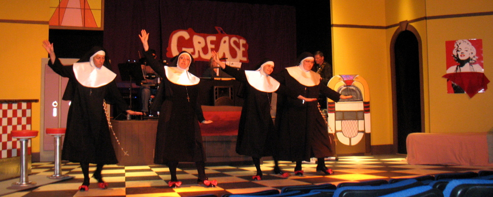 "Sisters Amnesia, Hubert, Leo and Robert Anne as they ""Tackle That Temptation with a Time Step"" in the zany production of Nunsense at the RFA Lakeside Theater on August 28-30. For more information, visit <a href=""www.rangeleyarts.org"">www.rangeleyarts.org</a>."