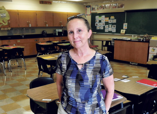 Academy Hill School teacher Brenda LaVerdiere in her classroom at the Wilton school on Wednesday. LaVerdiere is one of three finalists for Maine Teacher of the Year.