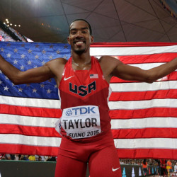 Christian Taylor celebrates after winning the gold medal in the men's triple jump final at the World Athletics Championships at the Bird's Nest stadium in Beijing on Thursday.