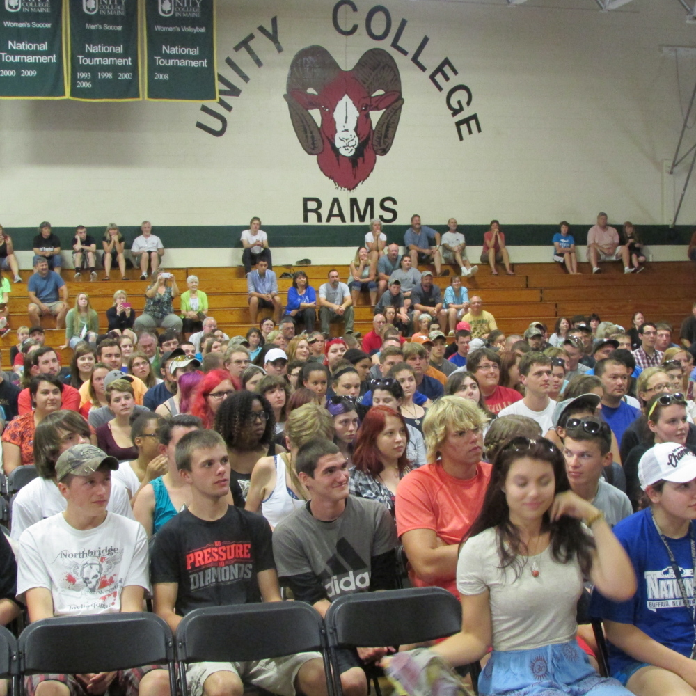 Incoming Unity College freshmen listen to presentations from the staff and professors during the school's annual convocation Saturday at the college campus.