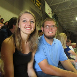 Breanna Fleet and Logan Connor, two incoming Unity College freshmen, wait for the annual convocation to start Saturday afternoon at the college.