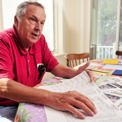 Eino Leinonen talks about harness racing at the Windsor Fairgrounds during an interview Thursday in his Nobleboro home.