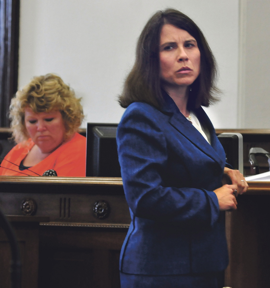Kennebec and Somerset County District Attorney Maeghan Maloney during opening statements in the trial of Andrew Maderios in Somerset Superior Court in Skowhegan on Monday.
