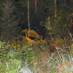 A Ford Focus driven by Johnathan Daellenbach, of Reading, Massachusetts, is seen in the field where it came to rest after crashing into a stone walls and trees on Route 27 in New Vineyard Sunday night. Daellenbach died of his injuries.