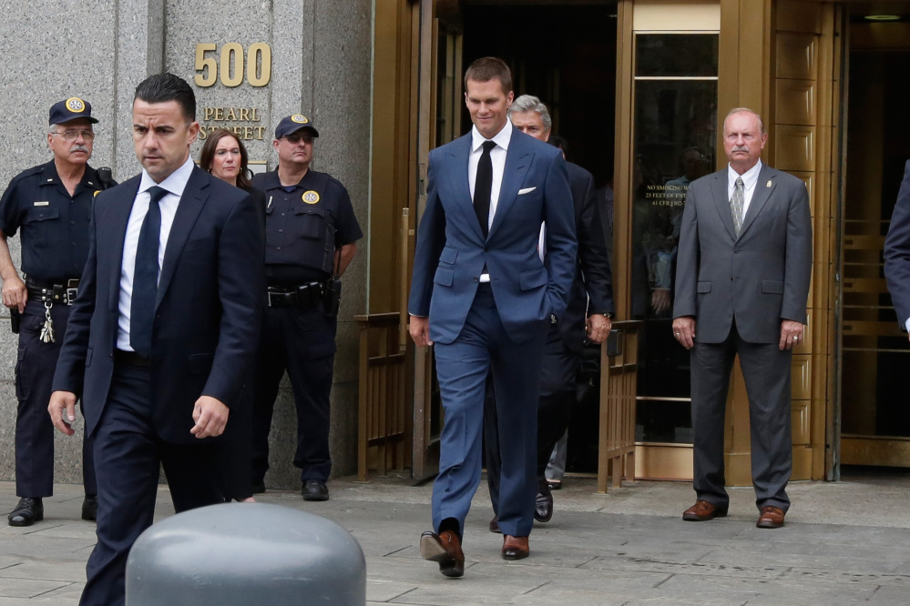 "New England Patriots quarterback Tom Brady leaves federal court in New York on Monday. Last-minute settlement talks between lawyers for NFL Commissioner Roger Goodell and Brady have failed, leaving a judge to decide the fate of ""Deflategate."""