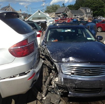 This photo, taken by a witness after the crash in Port Clyde in 2013, shows the dark Infiniti police said was driven by Cheryl Torgerson, 61, of New York City.