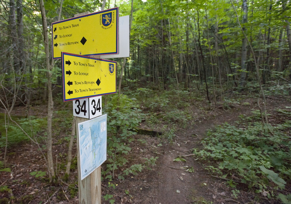 Clearly marked trails make it easy to navigate the Nordic Heritage Center's mountain bike trail system.