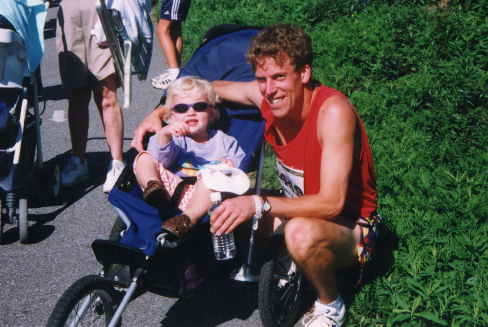 After the 1999 Beach to Beacon, 2-year-old Lily wore shades and I wore a hospital wristband. Lily's brother Jacob, a week old, was in intensive care for a few days.
