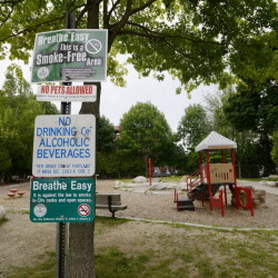 "With Portland's heroin epidemic worsening, Peppermint Park in East Bayside has attracted drug and alcohol users seeking secluded locations. One woman referred to the park near the corner of Smith Street and Cumberland Avenue as ""Needle Park."""