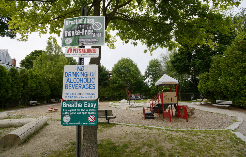 """With Portland's heroin epidemic worsening, Peppermint Park in East Bayside has attracted drug and alcohol users seeking secluded locations. One woman referred to the park near the corner of Smith Street and Cumberland Avenue as """"Needle Park."""""""
