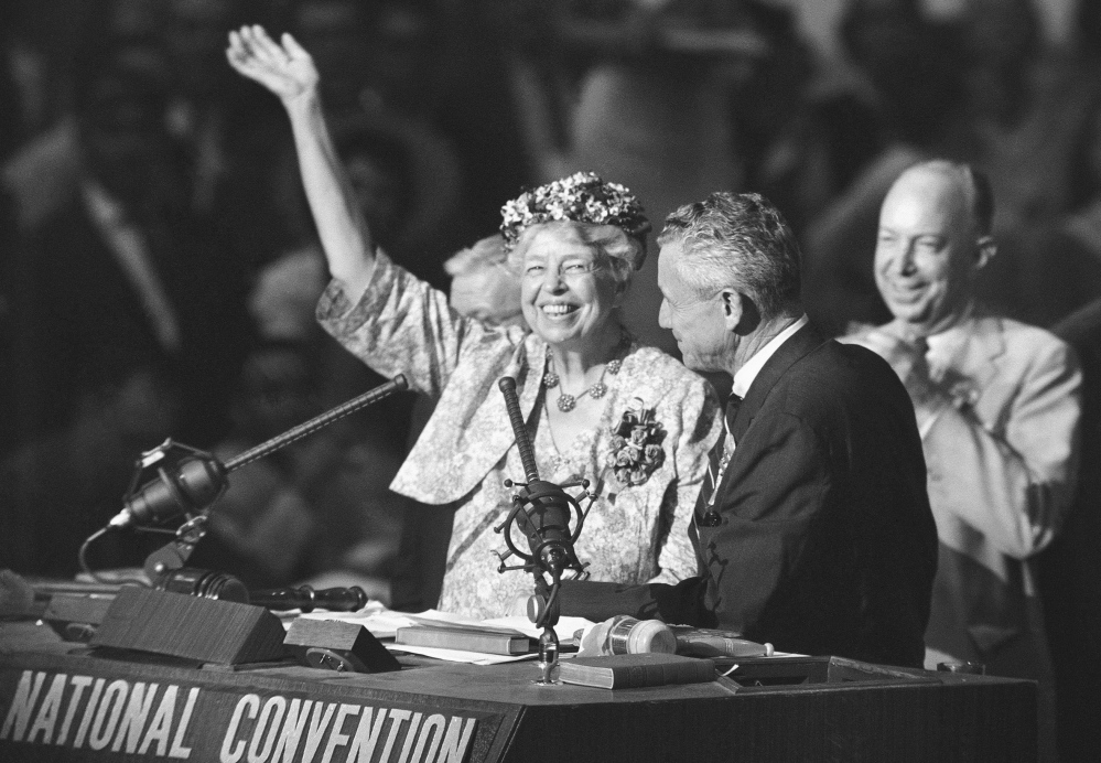 Eleanor Roosevelt waves to the crowd in the Los Angeles Sports Arena in July 1960 during the nomination of Adlai Stevenson as the Democratic Party's presidential candidate. A poll puts her as the top candidate for the redesigned $10 bill.