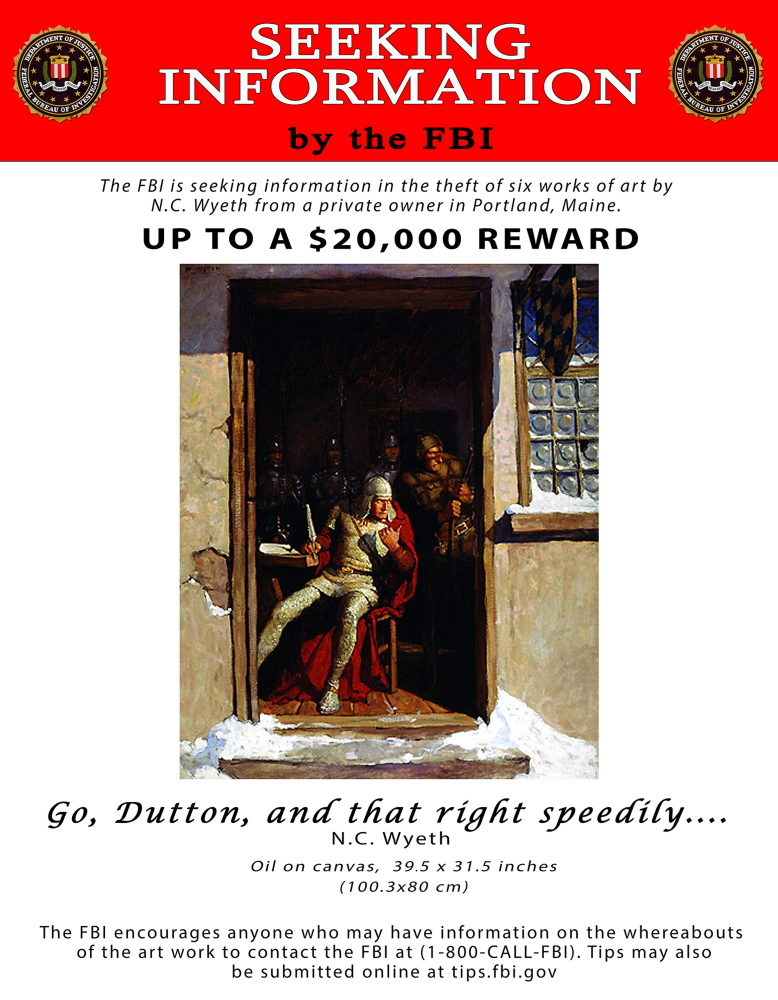"""""""Go, Dutton, and that right speedily..."""" by N.C. Wyeth is one of two paintings still missing."""