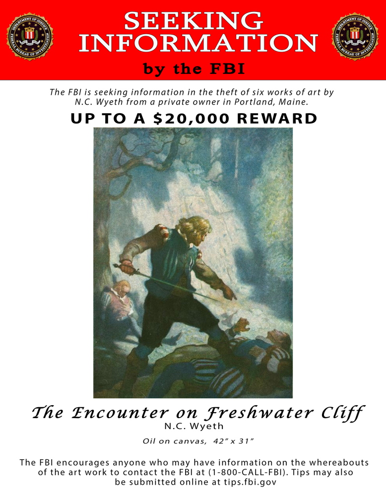 """""""The Encounter on Freshwater Cliff"""" by N.C. Wyeth is still missing after being stolen from a Portland apartment in 2013."""