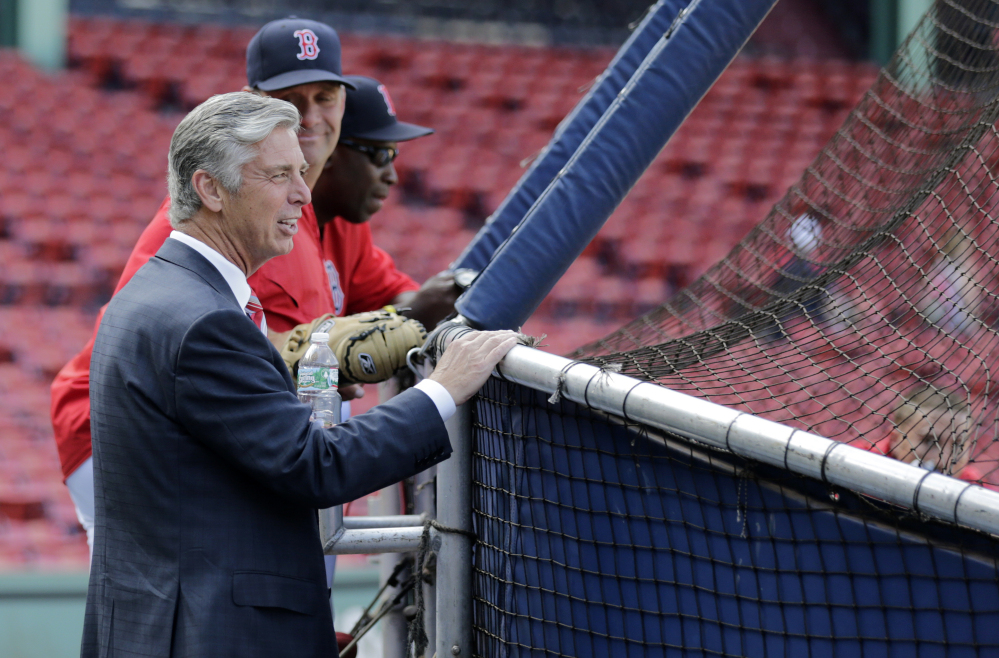 Dave Dombrowski, the Boston Red Sox's new president of baseball operations, watches batting practice before a game against the Cleveland Indians at Fenway Park in Boston on Wednesday.