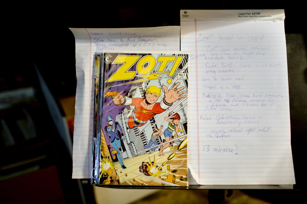 Gilley makes notes for the YouTube presentations, featuring different magazines from his collection, that he puts on the Internet each week.