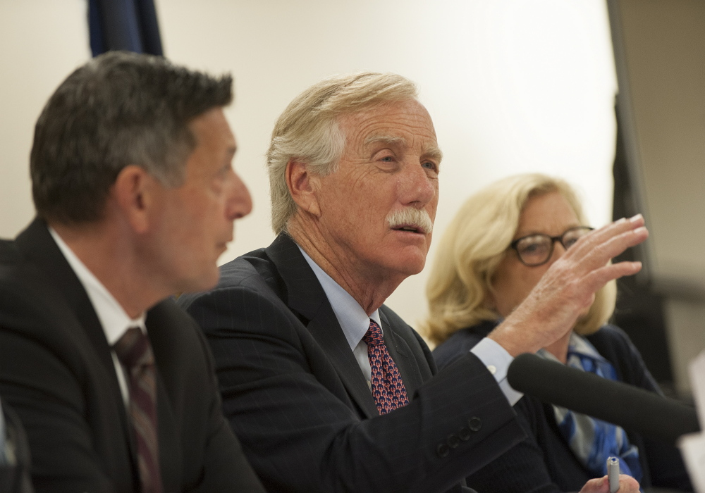 U.S. Sen. Angus King, I-Maine, center, and Director of National Drug Control Policy Michael Botticelli, left, along with U.S. Rep. Chellie Pingree, D-1st District, welcome healthcare providers, law enforcement and people in recovery to a roundtable discussion Tuesday in Brewer.