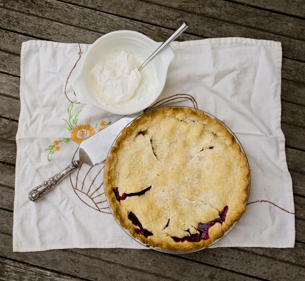 A homemade blueberry pie baked by Margaret Hathaway of Gray. The family recipe comes from her mother-in-law Nancy Schatz, who received the recipe from her grandmother.