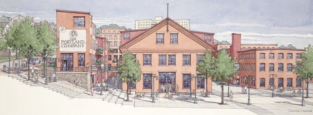 Developers say a redevelopment plan for the former Portland Co. complex would include public access to the waterfront.
