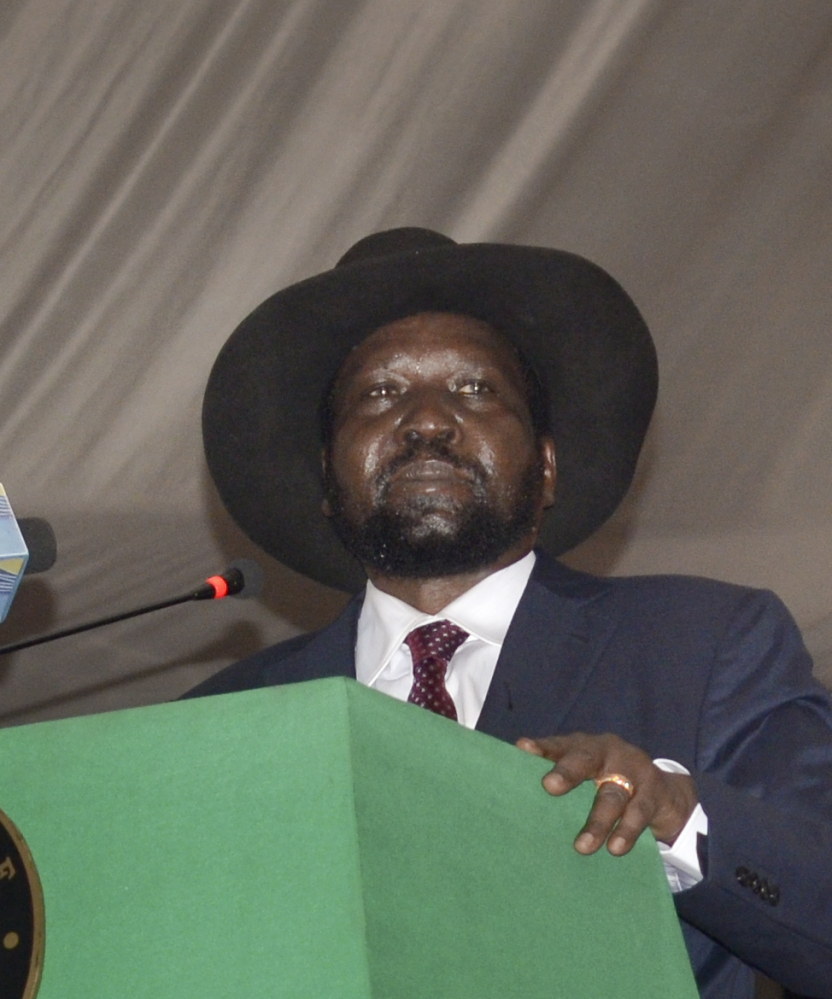 South Sudan President Salva Kiir voices his reservations before signing a peace deal in Juba, South Sudan, on Wednesday. Kiir signed the deal with rebels more than 20 months after the start of fighting between the army and rebels led by his former deputy Riek Machar.