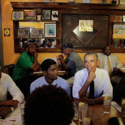President Obama stops at Willie Mae's Scotch House in New Orleans for lunch and conversation during his visit Thursday on the 10th anniversary of Hurricane Katrina.