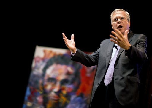 "Republican presidential candidate Jeb Bush speaks at the RedState Gathering in Atlanta on Saturday. He says ""it was a case of blind haste to get out (of Iraq) and to call the tragic consequences somebody else's problem."" The Associated Press"