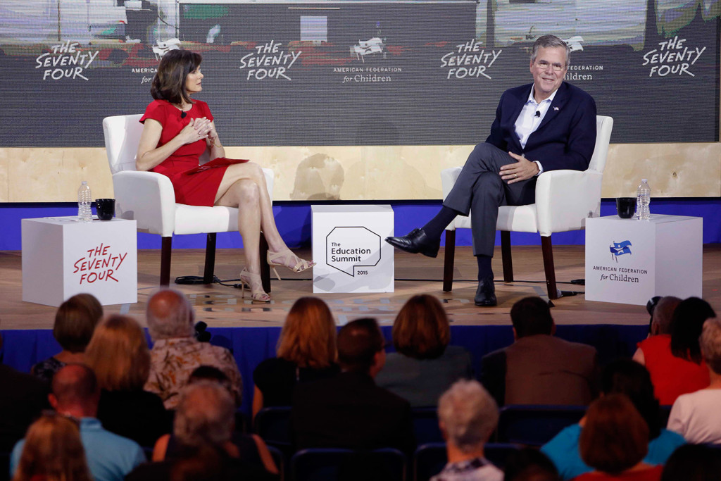 Republican presidential candidate Jeb Bush speaks during an education summit Wednesday in Londonderry, N.H.