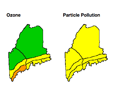 """Maine's air quality forecast for August 18 predicts """"moderate"""" levels of particle pollution statewide (mapped in yellow) and """"unhealthy for sensitive groups"""" levels of ozone along the southern coast (in orange)."""