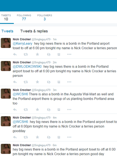 """A screenshot of the Twitter feed of user """"@Singleguy479"""" which includes the bomb threats that led to Troy Macdonald of Augusta being charged on Monday."""