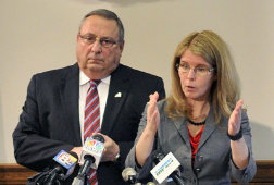 "AUGUSTA, ME - MAY. 12: Gov. Paul LePage, left, and Commissioner of the Department of Health and Human Services Mary  Mayhew speaks during news conference about a bill to end the ""welfare cliff"" on Tuesday May 12, 2015 at the State House's Cabinet Room in Augusta. (Photo by Joe Phelan/Staff Photographer)"