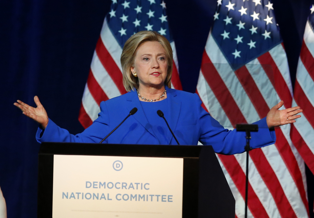 In this Aug. 28, 2015 file photo, Democratic presidential candidate, Hillary Rodham Clinton, addresses the summer meeting of the Democratic National Committee in Minneapolis.