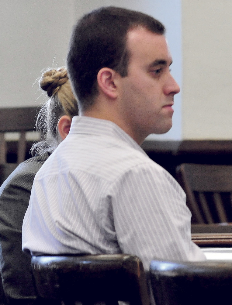 Defendant Andrew Maderios listens to attorneys during opening statements in Somerset County Superior Court in Skowhegan on Monday. Tuesday was the second day of the trial, which is expected to conclude Friday.
