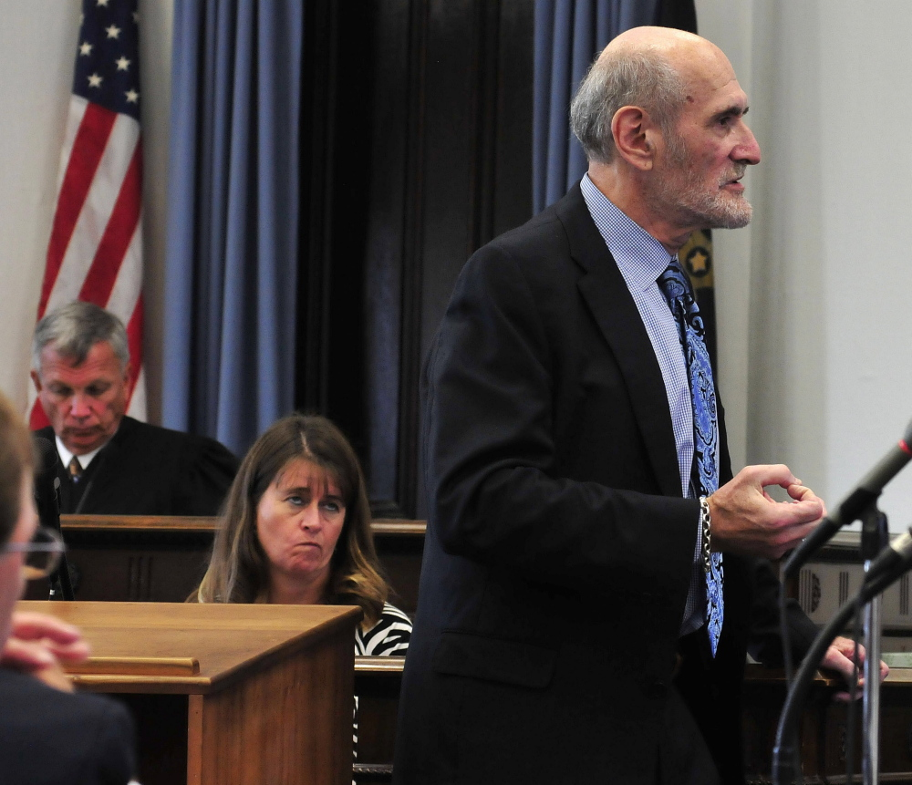 Defense attorney Leonard Sharon speaks to jurors during Andrew Maderios' trial in Somerset County Superior Court in Skowhegan on Monday. Sharon told the jury Tuesday that Maderios' former girlfriend's charges of abuse were actually a plan to set him up.