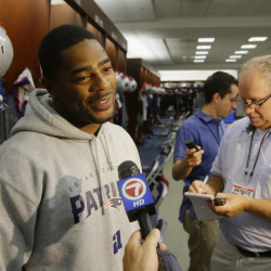 AP photo New England Patriots cornerback Malcolm Butler grins as he is asked once again about his game saving interception in Super Bowl XLIX during media availability in the team's locker room Tuesdayin Foxborough, Mass.
