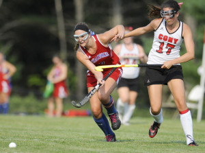 Staff photo by Andy Molloy   Cony High School's Olivia Varney, right, collides with Messalonskee's Emily Logan during a Kennebec Valley Athletic Conference Class A game Wednesday in Augusta.