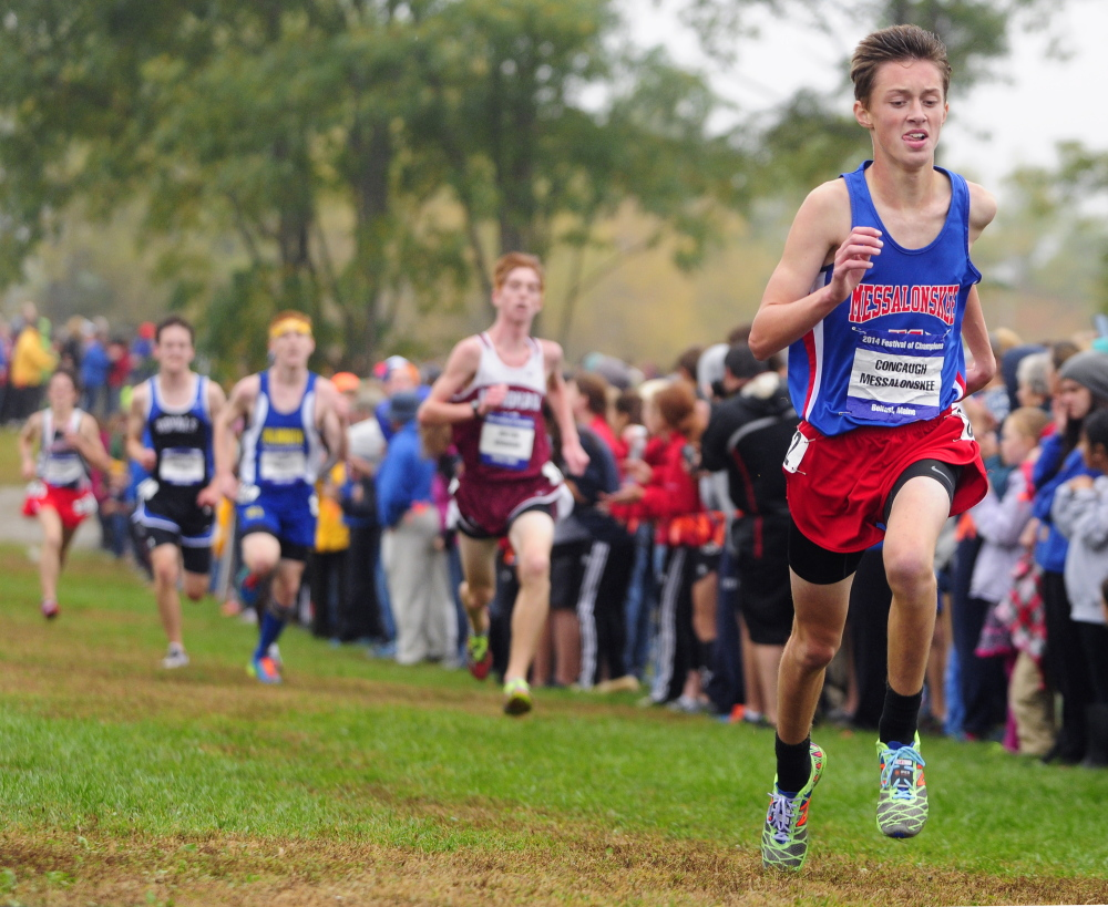 Staff file photo by Joe Phelan   Messalonskee's Owen Concaugh runs at the Festival of Champions last October in Belfast. The senior returns this season to lead a strong Eagles squad.
