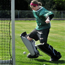 Staff photo by David Leaming   Winslow goalie Delaney Wood goes through some drills during practice on Aug. 17. Wood and the Raiders look to contend for the Class B state title this fall.