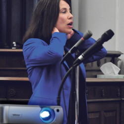 SKOWHEGAN,ME.-September 4: Kennebec and Somerset County District Attorney Maeghan Maloney illustrates being choked as she gave closing arguments to the jury in the domestic violence case against Andrew Maderios in Somerset County Superior Court in Skowhegan on Friday, September 4, 2015.  (Photo by David Leaming/Staff Photographer)