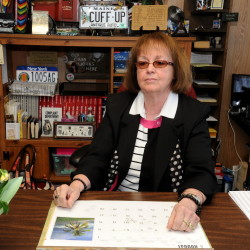 Gloria Viles, the elected tax collector for the town of Anson, sits at her desk at the town office in Anson last month. Viles was indicted by a Somerset County grand jury on a number of counts Thursday.