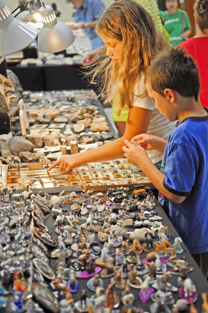 Cousins Molly Nichols, 11, of West Gardiner, left, and Seth Nichols, 6, of Gardiner, look at sharks' teeth and fossils Saturday during the Rockhounders 26th Annual Gem and Mineral Show at the Augusta State Armory.